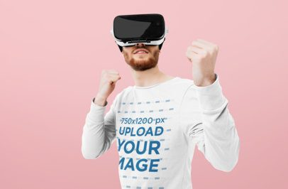 Sweatshirt Mockup Featuring a Man Playing with an AR Device On 34128-r-el2