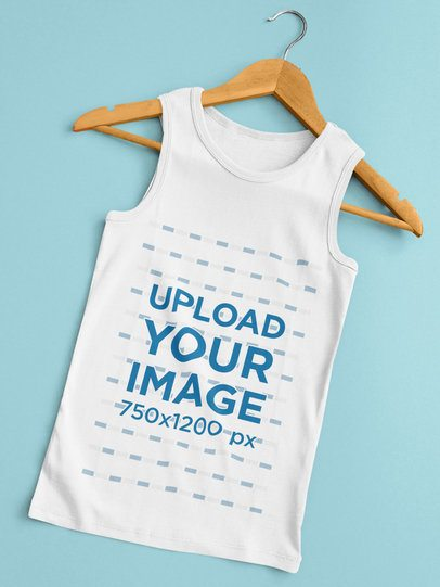 Simple Mockup Featuring a Tank Top Placed on a Wooden Hanger 33851