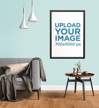 Art Print Mockup Featuring a Small Modern Table and a Gray Fabric Couch 3933-el1