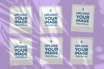 Mood Board Mockup of Six Polaroids Featuring a Palm Shadow 3901-el1