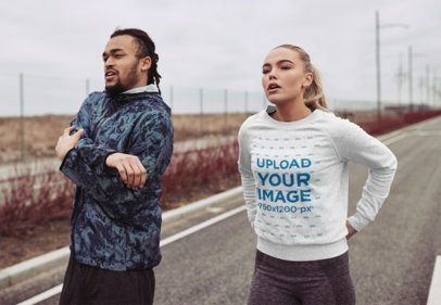 Heathered Sweatshirt Mockup Featuring Two Joggers on a Road 34006-r-el2