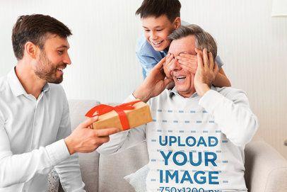 Crewneck Sweatshirt Mockup of a Grandfather Receiving a Gift 34027-r-el2