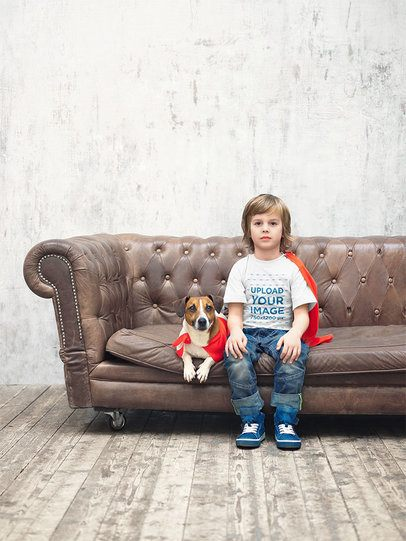 T-Shirt Mockup of a Kid and His Dog Sitting on a Couch 34241-r-el2