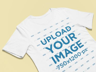 Closeup View Mockup of a Round Neck Tee 25339