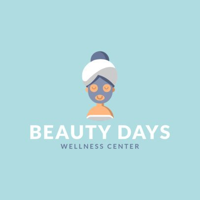 Spa Center Logo Creator Featuring a Woman with a Beauty Mask 1304g-el1