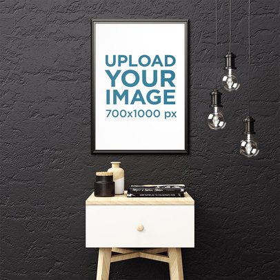 Framed Art Print Mockup Featuring a Small Minimal Table and Some Hanging Light Bulbs 3935-el1