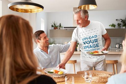 T-Shirt Mockup of a Grandfather Having Dinner with His Family 34244-r-el2