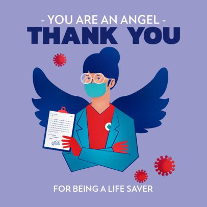 Facebook Post Generator Featuring a Female Doctor with Wings 2504b