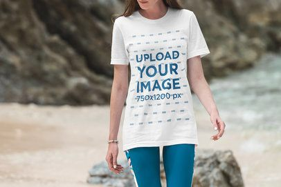 Cropped Face Mockup of a Woman Wearing a Long Shirt at the Beach 3329-el1