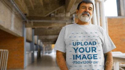 T-Shirt Video Featuring a Senior Man Standing on a Hallway 12766