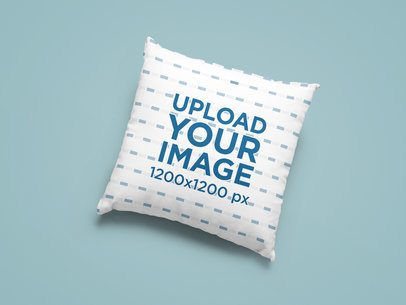 Mockup of a Sublimated Square Pillow Placed on a Plain Color Surface 25529