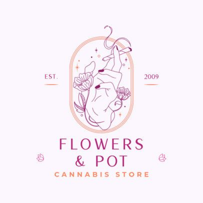 Cannabis Store Logo Maker Featuring a Hand with Flowers Holding a Joint 3134b