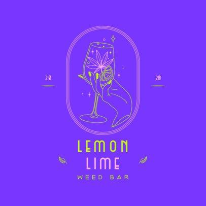 Weed Bar Logo Creator Featuring a Hand Holding a Glass with a Marijuana Leaf 3134c