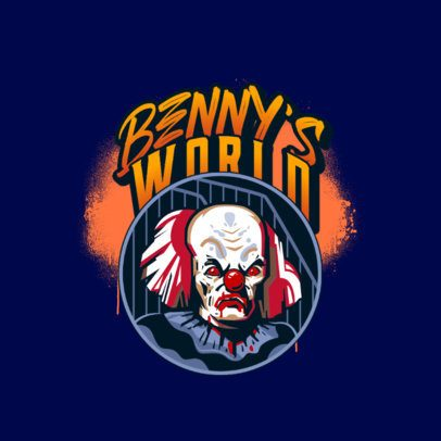 Logo Template for a Gaming Squad Featuring a Spooky Classic Clown 3233g