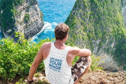 Back-View Mockup of a Man with a Tank Top on a Cliff 34963-r-el2