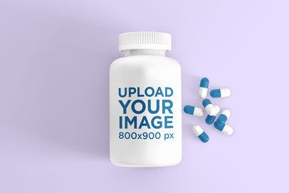 Mockup of a Pill Bottle Next to a Bunch of Pills 4043-el1