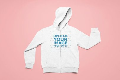 Flat Lay Mockup of a Heathered Full-Zip Hoodie on a Solid Surface 25495