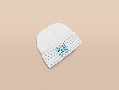 Mockup of a Beanie in a Plain Setting 25640