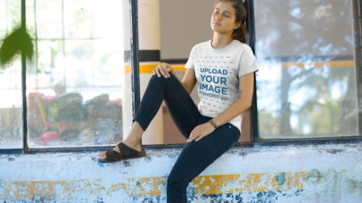 T-Shirt Video of a Woman Sitting by a Windowpane 12857