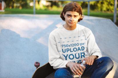 Mockup Featuring a Skater Wearing a Sweatshirt 34026-r-el2
