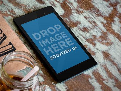 Samsung Nexus 7 Black Portrait Over Textured Table Wide