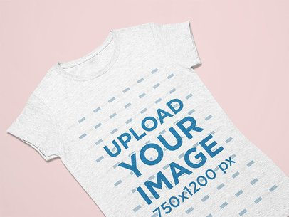 Closeup View Mockup of a Heather T-Shirt Facing Front Against a Flat Surface 25630
