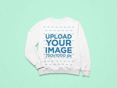Mockup of a Crewneck Sweatshirt with a Folded Sleeve on a Minimalist Setting 25497