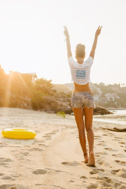 Back-View Mockup of a Woman Wearing a Crop Top at the Beach 34155-r-el2