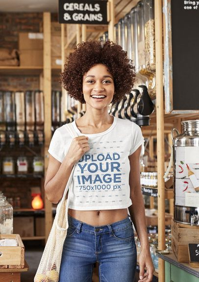 Mockup of a Woman with Natural Hair Wearing a Crop Top 34179-r-el2
