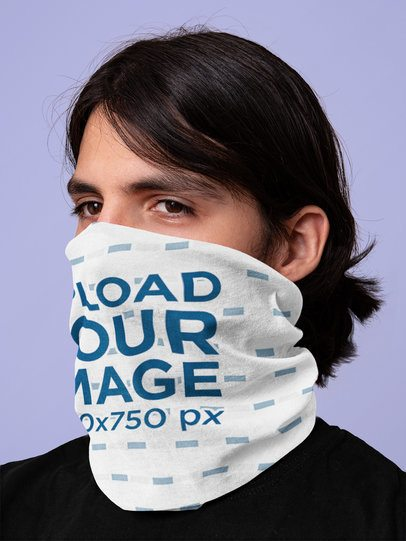 Neck Gaiter Mockup Featuring a Man with Long Hair Covering His Mouth 36066