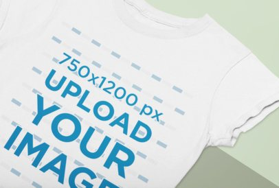 Closeup Mockup of a Round Neck Tee on a Bicolor Surface 33936