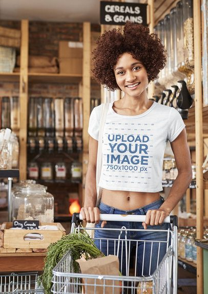 Crop Top Mockup of a Woman Grocery Shopping 34183-r-el2