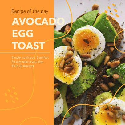 Instagram Post Template for an Avocado Toast Recipe 2526a