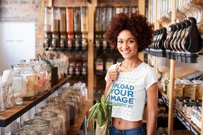 Crop Top Tee Mockup of a Woman at an Eco-Friendly Grocery Store 34180-r-el2
