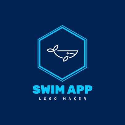 Mobile App Logo Creator with a Minimalist Graphic of a Whale 1395d-el1