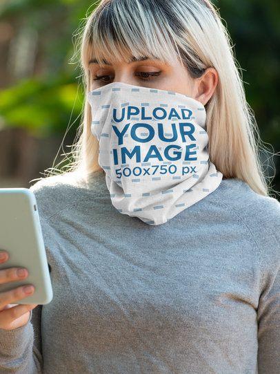 Tubular Bandana Mockup of a Woman Checking Her Mobile 36140
