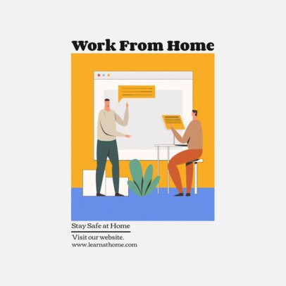 Instagram Post Makers Featuring Illustrations of People Doing Home Office 1392-el1
