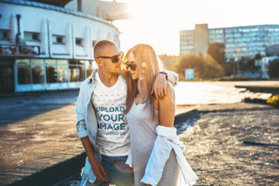 T-Shirt Mockup Featuring a Man Hugging His Girlfriend on the Street 34324-r-el2
