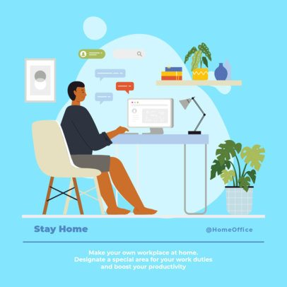 Instagram Post Creator Featuring a Freelancer Working From Home 1372b-el1