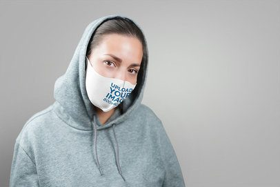 Face Mask Mockup Featuring a Woman in a Studio 4164-el1