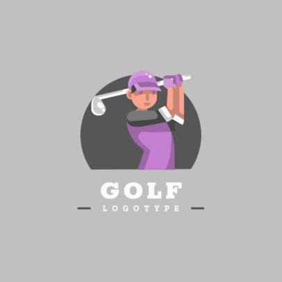 Golf Logo Template Featuring a Female Golf Player 1455b-el1