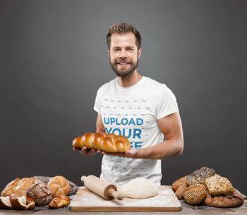 T-Shirt Mockup of a Baker Posing with Bread 34264-r-el2