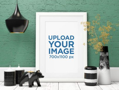 Mockup Featuring an Art Print Surrounded by Elegant Decorative Items 3969-el1