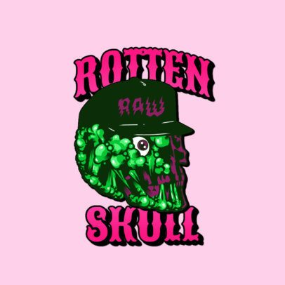 Logo Maker for a Clothing Brand Featuring a Rotten Skull Clipart 3266a