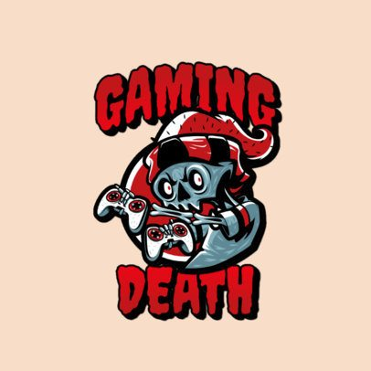 Logo Maker Featuring a Skeleton with Gaming Controllers 3266d