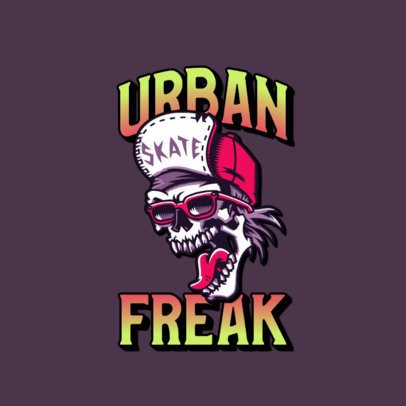 Urban Clothing Brand Logo Creator with an Edgy Skull Graphic 3266l