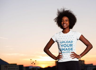 T-Shirt Mockup of a Woman with the Sunset as Background 34410-r-el2