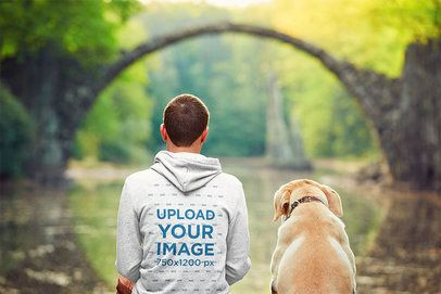 Back-View Mockup of a Man and His Dog Admiring Nature 34404-r-el2