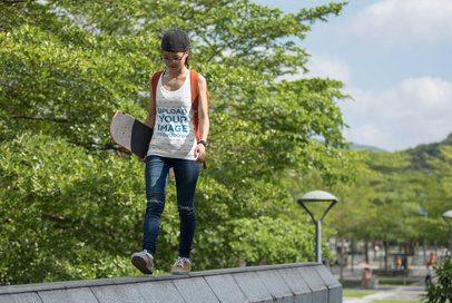 Tank Top Mockup of a Woman Walking with a Skateboard 34567-r-el2