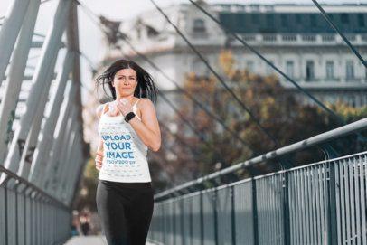 Activewear Mockup of a Woman with a Tank Top Jogging 34187-r-el2